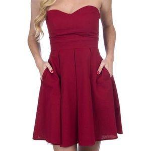 NWT Lauren James Savannah Crimson Strapless Dress